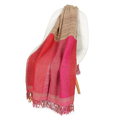 NEERU KUMAR Hand Throw Blanket Wool/Silk Soft and Stylish Luxurious 50X70 inch - Pink/Beige (Throw X 50 Blanket 70)