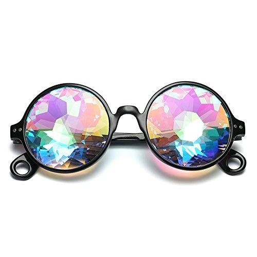 IMBM Kaleidoskop Sonnenbrille Runde Kristall Linse Tanz Rave Festival Party Brille,Black,B