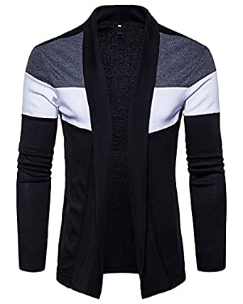 PAUSE Men's Solid Cotton Long Sleeve Round Neck Regular-Fit Shrug (Medium,Black,PASRG03181189-BLK-M)