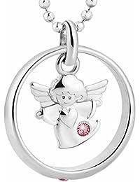 fish Mädchen Halskette echt Silber Schutzengel-Anhänger Taufring Taufgeschenk rosa Geschenkbox, Geschenkidee Mädchen Junge