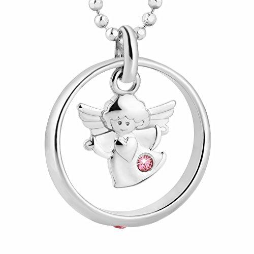 fish Mädchen Halskette Silber Schutzengel-Anhänger Taufring Taufgeschenk Rosa Geschenkverpackung Christliche Geschenke