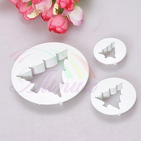 Emporte-pièces pour fondant, pour la décoration de gâteau, blanc, 4pièces, Plastique, 3Pcs/Set Christmas Tree Cookie