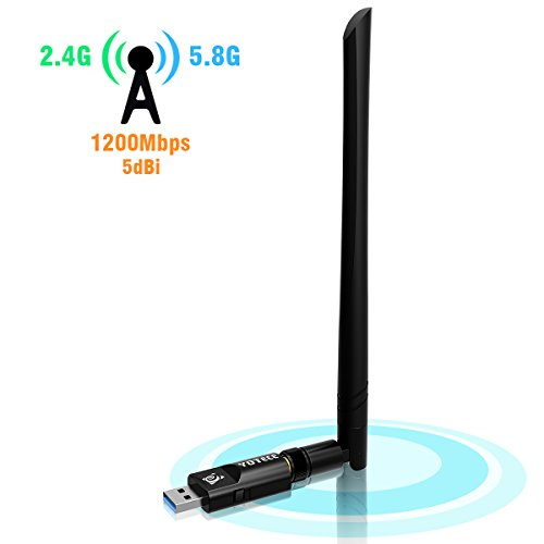 1200Mbit/s USB Wifi Adapter,AC Dualband wireless Adapter (2.4G/300Mbps+5.8G/867Mbps),YOTECE Wlan Stick mit Antennenbuchse und abnehmbarer Antenne für Win 10/8.1/8/7/XP/Vista (32/64bits) MAC OS