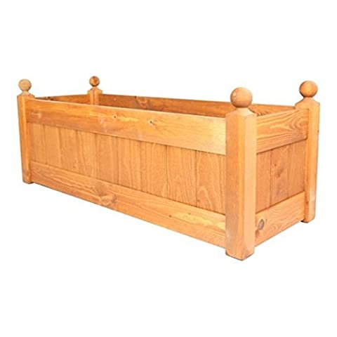 AFK Teak Stain Wooden Planter Trough with Heavy Duty Liner