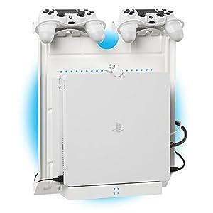 Gameside – Vertikal wandhalterung mit Kühlgebläse, vielfarbig led licht für PS4, Slim und Pro, PS3, Xbox One X, Xbox One S, Xbox 360 | Raum für 2 pads | Weiß