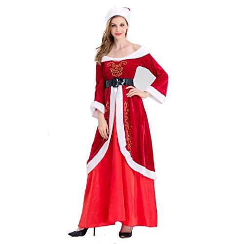 DUBAOBAO Weihnachtsmann-Weihnachtskostüm für Frauen, Weihnachtsmann-Kostüm, Hut + Kleid + Gürtel, Freunde und Frauen (freie Größe),