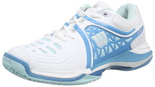 Wilson NVISION ELITE WOMAN, Damen Tennisschuhe, Mehrfarbig (White/Mint Ice/Light Ultramarine), 40 1/3 EU (6.5 Damen UK)
