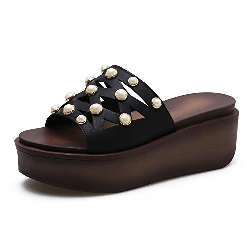 LIXIONG Portable Sandales femme Été Comfort PU Casual Wedge Heel Split Joint Walking -Chaussures de mode