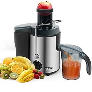 OZAVO Centrifuga Frutta e Verdura, Estrattore di Succo, Centrifuga Motore, Contenitore e Spazzola per Succo più Nutriente, Funzione Anti-Intasamenti, Acciaio Inox - 2020 -