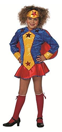 narrenkiste W3260-152-A blau-gelb-rot Kinder Mädchen Wondergirl Kleid Supergirl Kostüm Gr.152 (Für Kostüm Mädchen Superwoman)