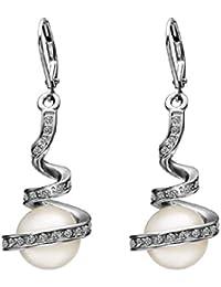 joyliveCY 2018la moda mujer elegante 18K chapado en oro de ley eardrop Dangle Hoop larga espiral blanco