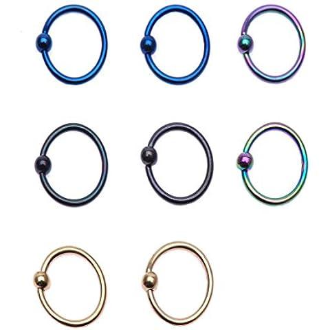 IPINK anodizzato, in acciaio INOX, per labbra, sopracciglio, labbro/orecchio con anello di chiusura anello di fissaggio