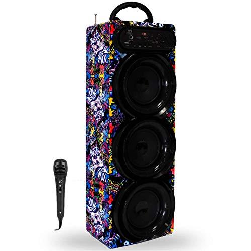Altavoz Karaoke con Micrófono Bluetooth Torre Sonido USB Radio/FM/MP3 HiFi Inalámbrico Recargable Musica Modo Pop/Rock/Classic/Jazz