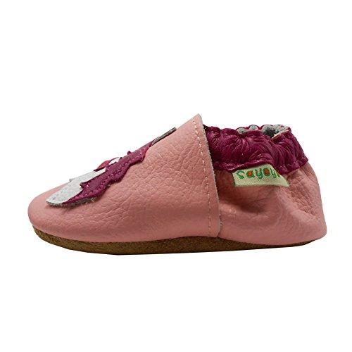 Sayoyo cheval chaussons bébé chaussures cuir semelle douce 18-24 mois Marron Rose