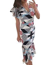 6ad7e176a41f Martinad Abiti Sera Magliette Lunga Elegante Camicetta Donna Manica Corta  Scollo-A-V Profondo Stampa Geometrica