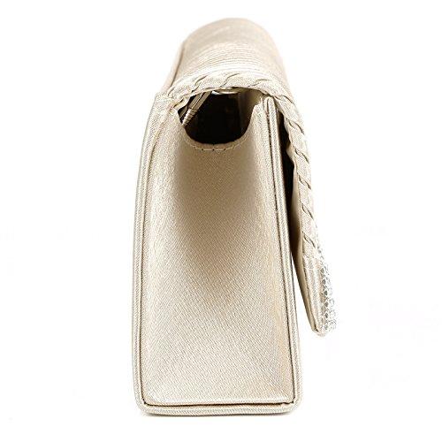 Fashion Damen Welle Strass Handtasche Clutch Abendtasche Brauttasche Hochzeit 5 Farbe Champagner
