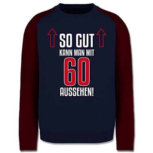 Geburtstag - So gut kann man mit 60 aussehen - Herren Baseball Pullover Navy Blau/Burgundrot