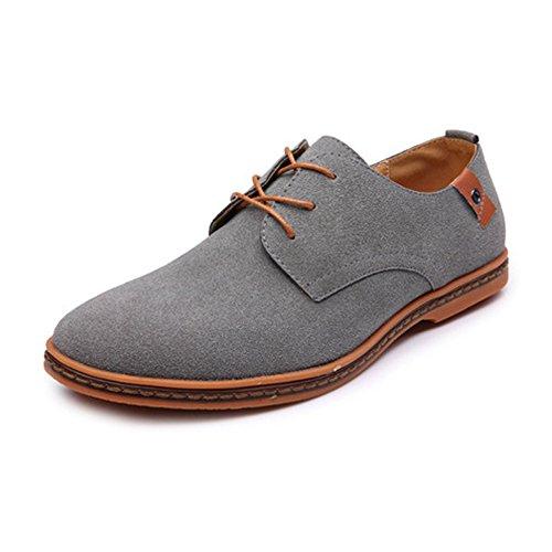 Scarpe eleganti oxford da uomo mocassini scarpe oxford pelle in microfibra tomaia grande scarpe stringate (color : grigio, dimensione : 47 eu)
