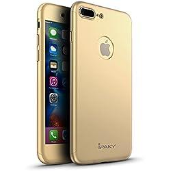 Funda iPhone 7 Plus , Yinano® 360 °Protección Completa [Perfect Fit] Funda Frontal y Trasera Ultra-Delgada + [Regalo Gratis] Protector de Pantalla de Cristal Templado (iPhone7plus/5,5 pulgadas, oro)