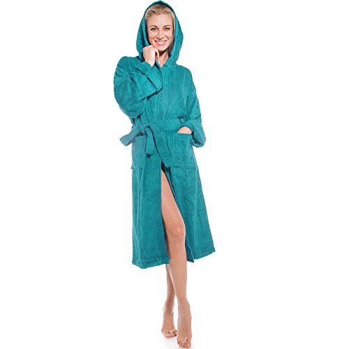 aqua-textil Frottee Bademantel mit Kapuze aus 100% Baumwolle, für Damen u. Herren, Morgenmantel Föhr 1000356 türkis L (Damen Bademäntel Knie-länge)