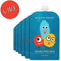 Hello Little Monsters Bolsitas de alimento reutilizable con una remallera de doble para el bebé 6 piezas