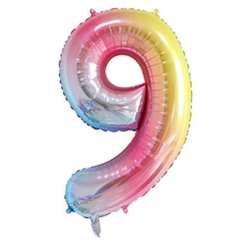 40-Zoll-Folie Mylar Digital Ballons Partydekorationen liefert, Rainbow Anzahl Ballons Geburtstag für Verlobung Hochzeit Bridal Shower Jubiläum (Folie Anzahl Luftballons)