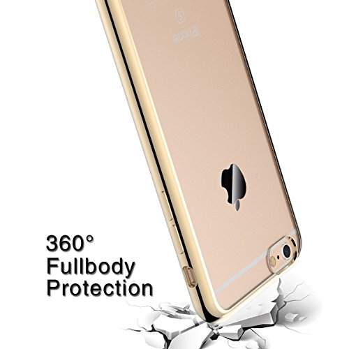 Coque iPhone 6S Plus / 6 Plus, Coodio Chrome Placage Bumper Case [Absorption de Choc] Housse Etui Coque arriere transparente en TPU Silicone Coque Pour iPhone 6S Plus / 6 Plus - Rose Or