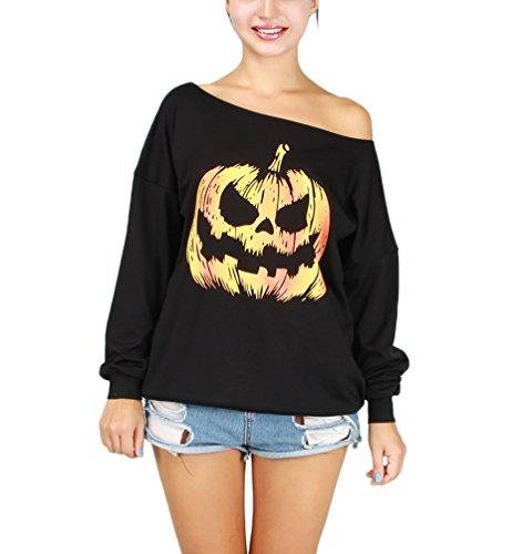 Langes Hülsen Damen Mädchen Hallowee Kostüm Boot Hals Schwarz Fleece Pullover Kürbis Druck One Size Sweater Tops Bluse Shirt (Kostüm Hip Hop Christmas)