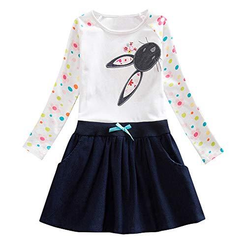 (JERFER Mädchen Crewneck Langarm Casual Karikatur Stickerei Party T-Shirt Kleid Kinderkleider Festliche 2-8 T/Jahre (Weiß, 4T))