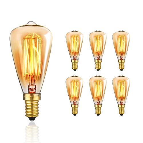Edison Glühbirne, KINGSO E14 Vintage Retro Glühbirne Dimmbar Warmweiß Antike Lampe 220V 40W 6 pack Retro Lampe Ideal für Nostalgie und Retro Beleuchtung im Haus Café Bar mit CE/ROHS Zertifizierung Lampe-haus