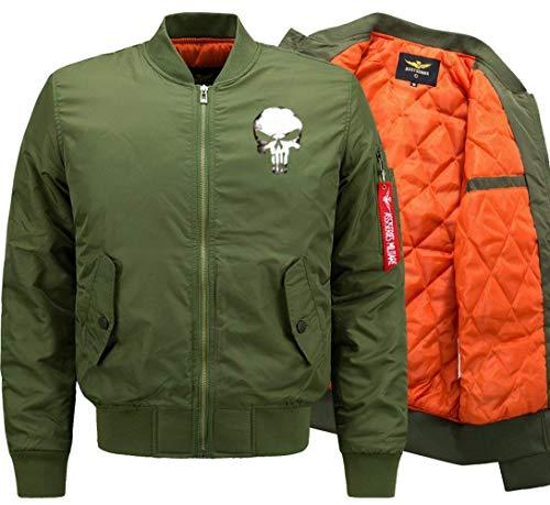 Herren Blouson Jacke Gesteppt Slim Stehkragen Fashion Langarm Bomberjacke Totenkopf Gemustert Pilotenjacke Fliegerjacke (Color : Green 1,...