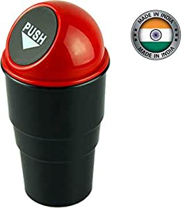 Inditradition Car & Bike Trash Bin, Garbage Storage Glass Dust Bin (With Lid, Universal Size, Fits in All Cars, Black)