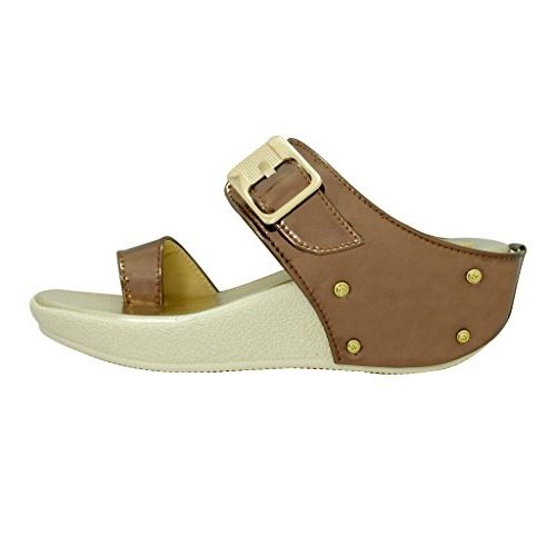 Miss. Polo Copper Wedge Heel Party Wear Sandals  available at amazon for Rs.399