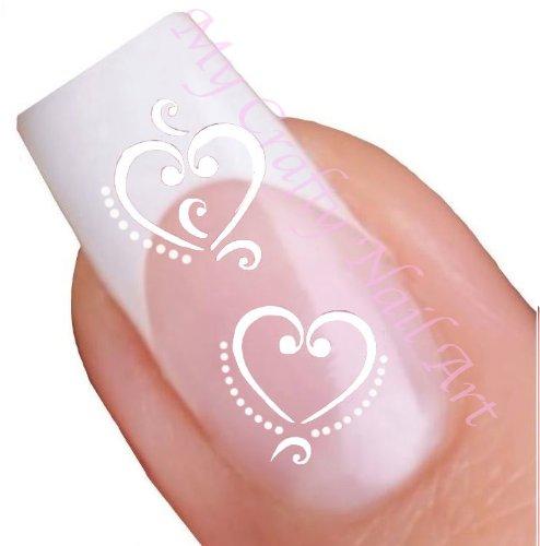 Herz Weiß Wasser-Aufkleber, Nagelkunst Aufkleber