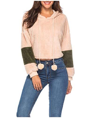 CuteRose Womens Contrast Crop Top Warm Long Sleeve Sweatshirt Hoodies Pink S (Aeropostale Hoodies Frauen)