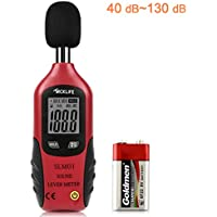 Schallpegelmessgerät, Tacklife SLM01 Klassischer Schallpegelmesser, Lärm Messgerät Datenspeicherfunktion Abschaltautomatik 40~130 dB Rot, LCD-Anzeige, Hintergrundbeleuchtung, 9 V Batterie Enthalten