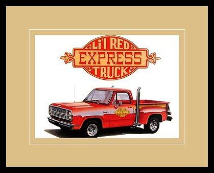 Chrysler Historical Prints Cars Auto 1978 Dodge Li'l Red Express Truck Poster Bild Kunstdruck im Alu Rahmen in schwarz 40x50cm