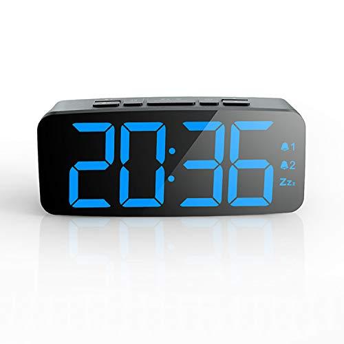 PINGKO - Sveglia Digitale con Ampio Display a LED, Funzione Snooze, luminosità Regolabile, Piccola e Leggera per Viaggi, scrivania o Camera da Letto