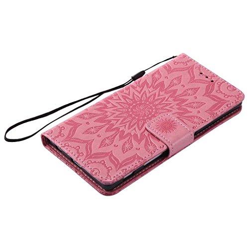 Huawei P10 Hülle [mit Frei Panzerglas Displayschutzfolie], BoxTii® Huawei P10 Schutzhülle mit Kartenfächern und Bumper Silikon TPU Cover, Premium Lederhülle Leder tasche Handyhülle mit Standfunktion f #3 Pink