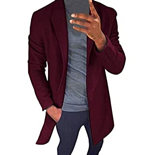 CLOOM Herren Jacke Lang Wollmantel Herren Mantel Strickjacke College Softshell Jacke Herren Hoodie Sweatshirt Pulli Herren Pullover Sportshirt Langarm Shirt Sweatjacke Outwear(Weinrot,M)