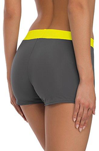 Merry Style Damen Badeshorts Bikinihose Modell S1R1 Graphit (9154)/Gelb (1188)