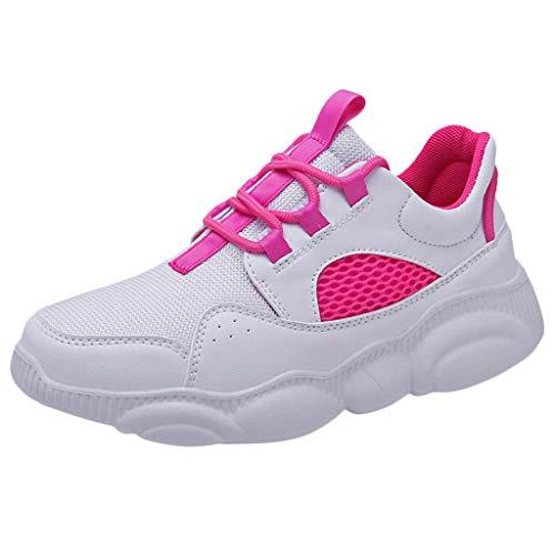 CUTUDE Herren Laufschuhe Leichte Gym Sneaker Sportschuhe Turnschuhe Freizeitschuhe Atmungsaktiv Schuhe für Männer (Hot Pink, 42 EU)