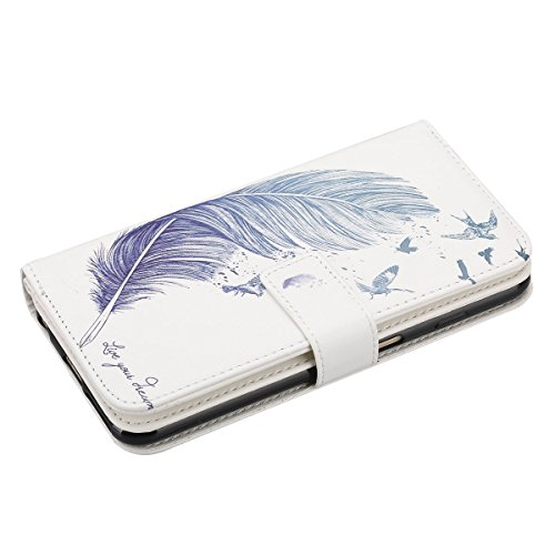 """Apple iPhone 6 Plus/6S Plus 5.5"""" Wallet Coque - Felfy Luxe PU Cuir Ultra-mince Étui Flip Housse Étui Cover Case Wallet Portefeuille Fonction Support avec 9 Credit Card Slots Motif Rétro élégant Housse Plumes Bleu"""
