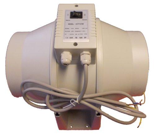 """Conduit Inline ventilateur d'extraction d'air Hydroponique avec deux Contrôle Vitesse de 100mm (10,2cm) à 200mm (20,3cm), 125mm (5"""")"""