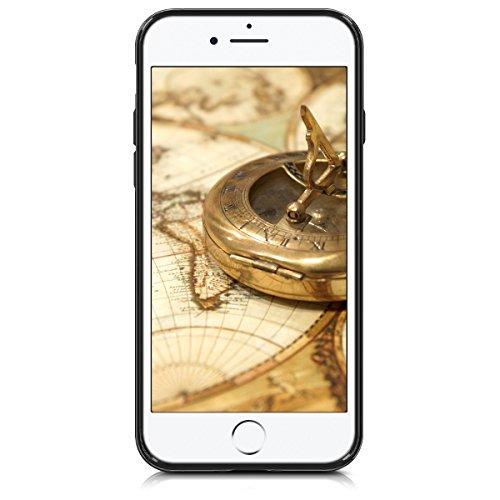 kwmobile Hülle für Apple iPhone 6 / 6S - Hybridhülle Dual Case Handy Schutzhülle TPU Silikon - Hybrid Cover Hybrid Metallic Design Metallic Rosegold Schwarz Holzoptik Kompass Barock Schwarz Hellbraun