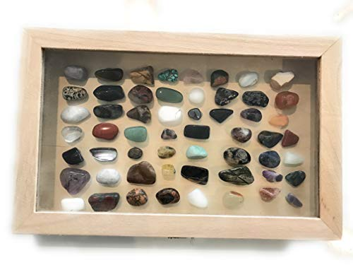 56 steine, edelstein-set, halbedelsteine, mineralien steine, heilsteine set mit Bestimmungsposter, edelsteine 1-3cm gross,Esoterik,mineralien set -