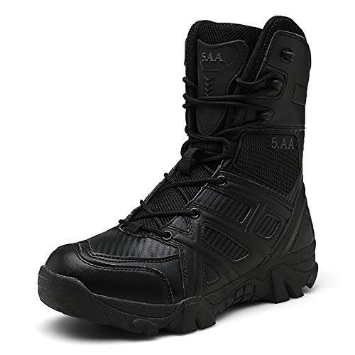 Large Size Herren Outdoor Tactical Boots wasserdichte High Top Boots Desert Sand Wear Anti-Rutsch-Schuhe Geheimnis,Schwarz,45