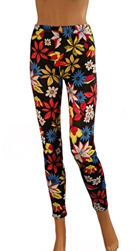 Damen Frauen Lang Flower Print - Blumen Muster - Leggings - Leggins - Flo3