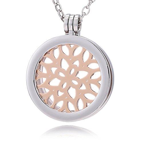 Morella® Damen Halskette 70 cm Edelstahl und Anhänger mit Coin Blätterwald rosegold 33 mm im Schmuckbeutel