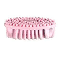 Pretty See Silicone Bath Body Brush Shower Massage Scrubber for Cellulite Treatment & Skin Exfoliation, Pink